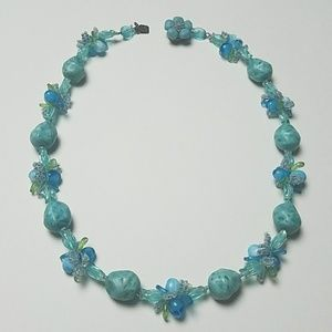 Vintage Lucite Flowering Grapes and Beads Necklace